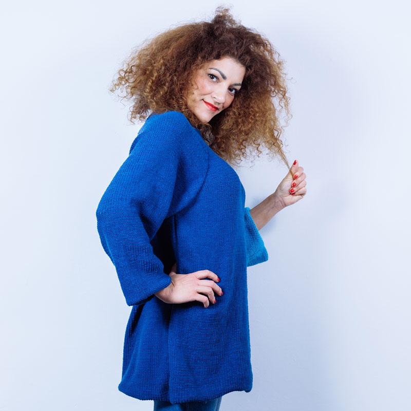 d450a1780be5 Modré štrikované šaty