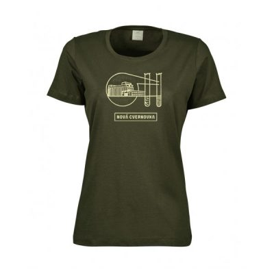 Olivové dámske tričko Logo Račianska Cvernovka