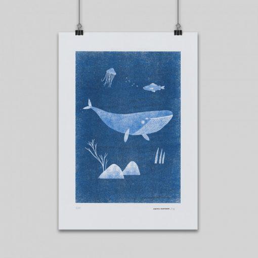 Veľryba Gréta modrá – grafika / obrázok