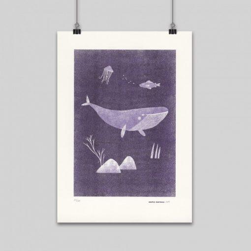 Veľryba Gréta fialová – grafika / obrázok