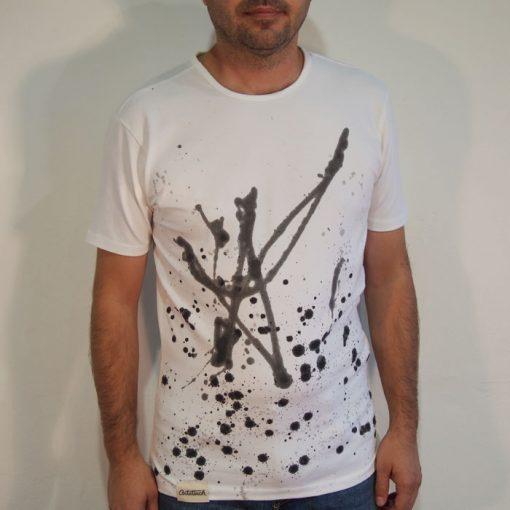 Biele Streetart tričko s čiernym dizajnom #6 (veľkosť L)
