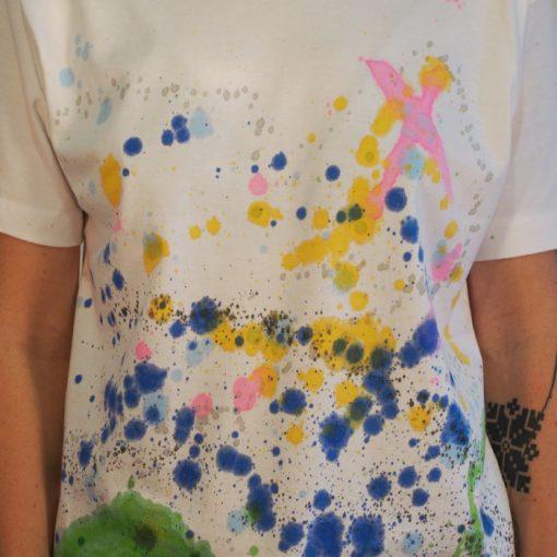 Biele Streetart tričko s farebným dizajnom #2 (veľkosť S)
