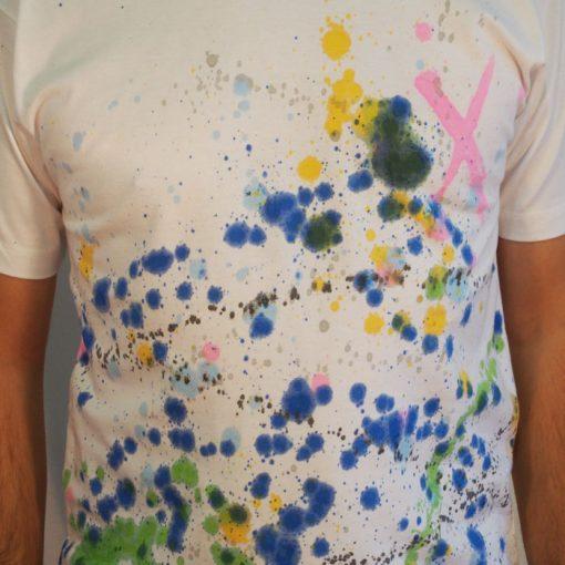 Biele Streetart tričko s farebným dizajnom #3 (veľkosť M)