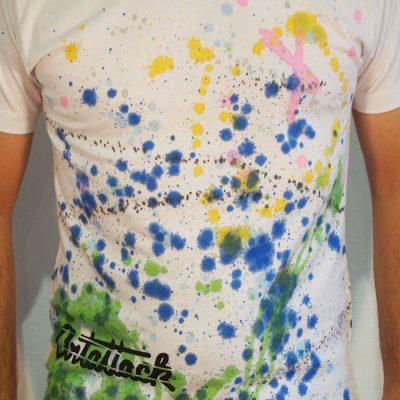 Biele Streetart tričko s farebným dizajnom #4 (veľkosť M)