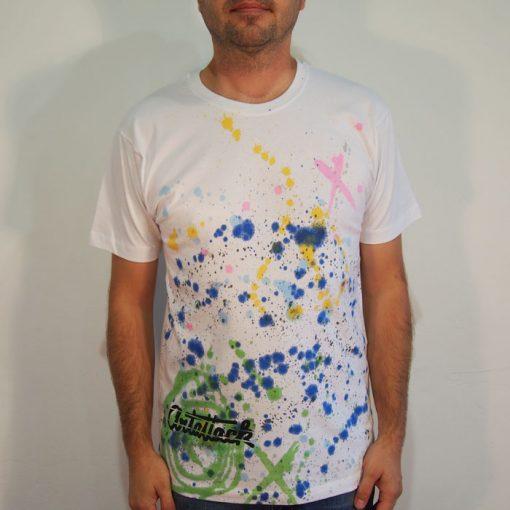 Biele Streetart tričko s farebným dizajnom #5 (veľkosť M)