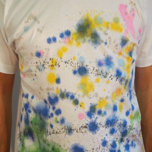 Biele Streetart tričko s farebným dizajnom #7 (veľkosť M)