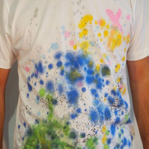 Biele Streetart tričko s farebným dizajnom #8 (veľkosť L)
