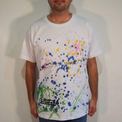 Biele Streetart tričko s farebným dizajnom #10 (veľkosť XL)