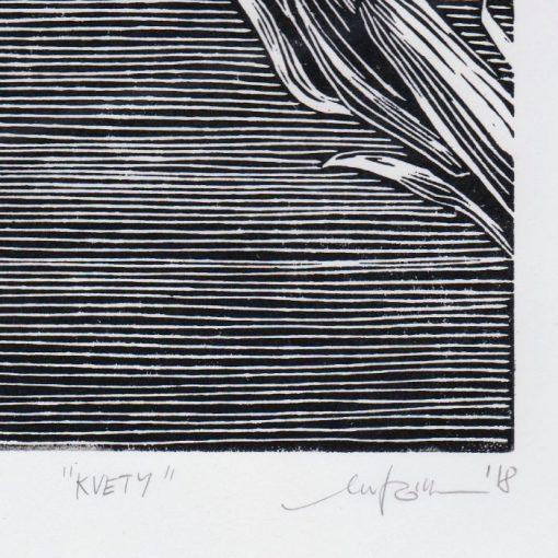 Kvety - Martina Rötlingová linorytová grafika 43 x 30cm