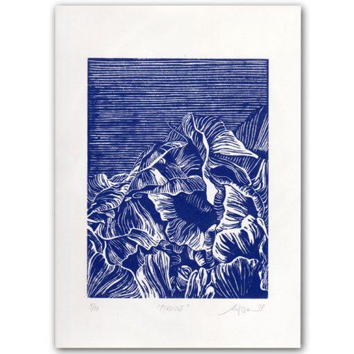 Pivione Blue - Martina Rötlingová linorytová grafika 43 x 30cm (Kópia)
