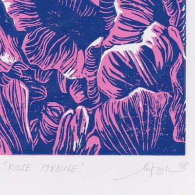 Rose Pivoine - Martina Rötlingová linorytová grafika 43 x 30cm