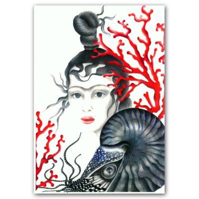 Abstraktné Stavy pohľadnica - Magic Coraline Art