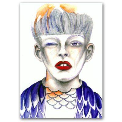 Abstraktné Stavy pohľadnica - Owl my Eye Art