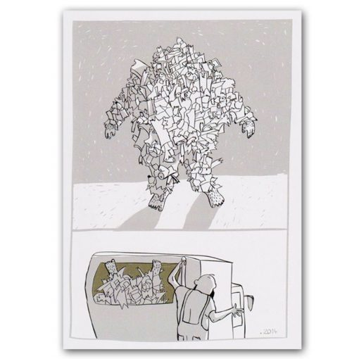 Pomimo komiks pohľadnica - ilustrácia Adela Režná
