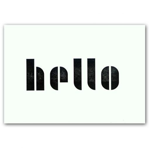 Hello - letterpress pohľadnica Pressink