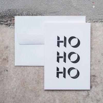 Ho Ho Ho - letterpress pohľadnica Pressink