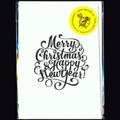Merry xmas and happy new year - letterpress pohľadnica Pressink