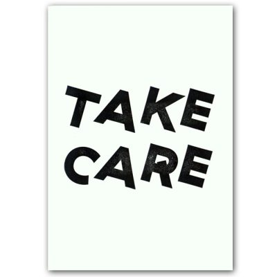 Take care - letterpress pohľadnica Pressink