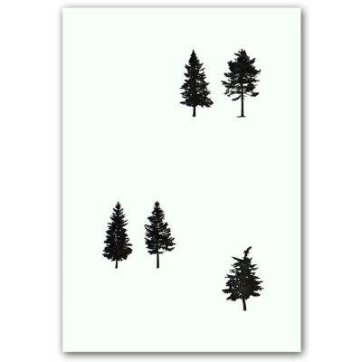 Xmas trees - letterpress pohľadnica Pressink