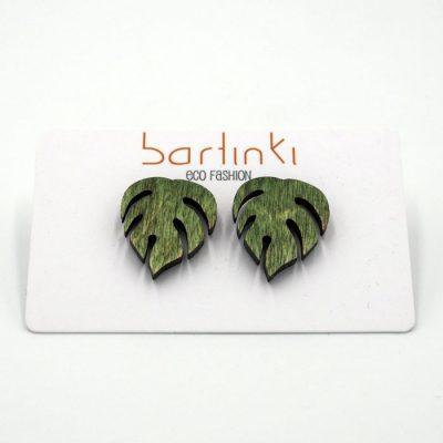 Náušnice Monstera - malé zelené / Bartinki