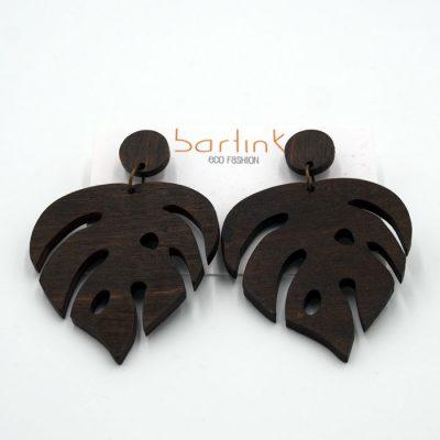 Náušnice Monstera - veľké hnedé / Bartinki