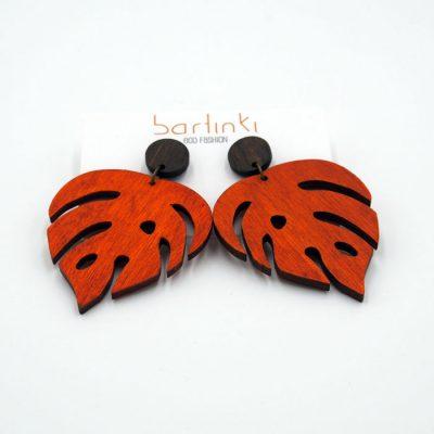 Náušnice Monstera - veľké oranžové / Bartinki