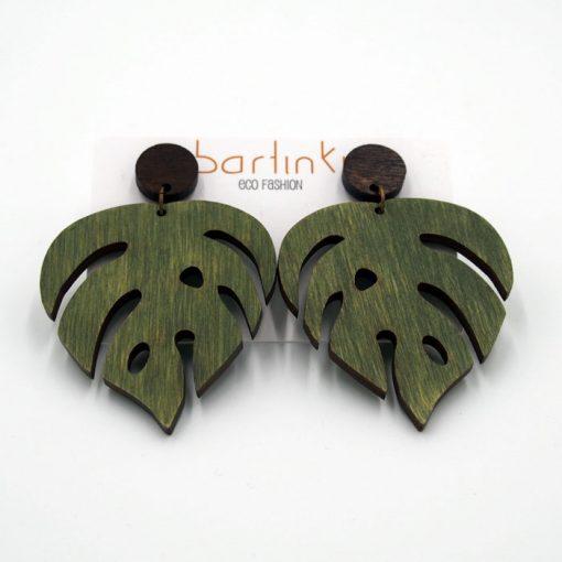 Náušnice Monstera - veľké zelené / Bartinki