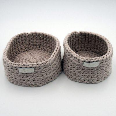 Štrikované košíky béžové / Pletka