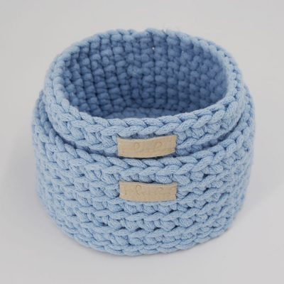 Štrikované košíky bledo modré / Pletka