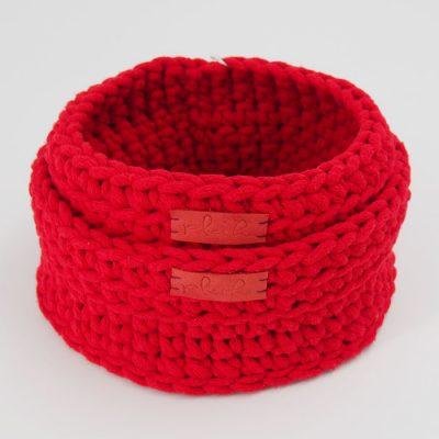 Štrikované košíky červené / Pletka