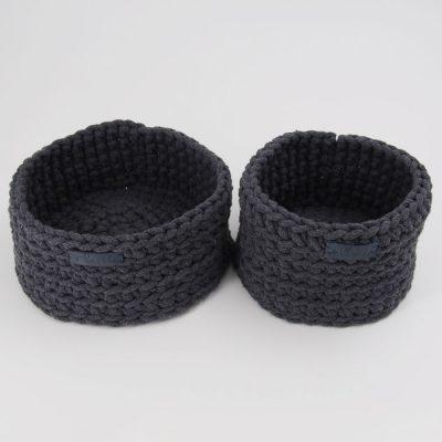 Štrikované košíky tmavo sivé / Pletka