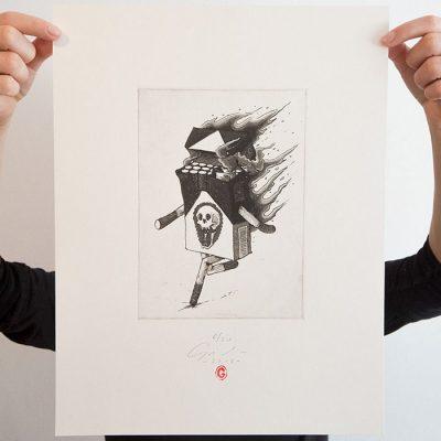 Horiace cigarety - Jozef Gľaba / grafika