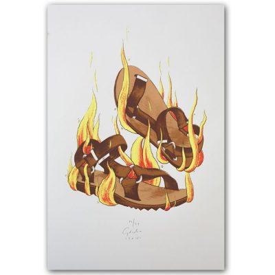 Horiace sandále - Jozef Gľaba / grafika