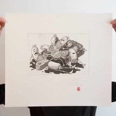 Krájacia doska - Jozef Gľaba / grafika