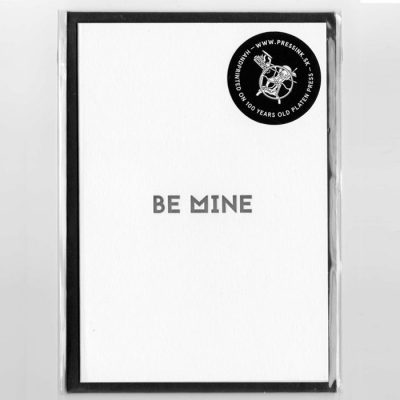 Be Mine - letterpress pohľadnica Pressink