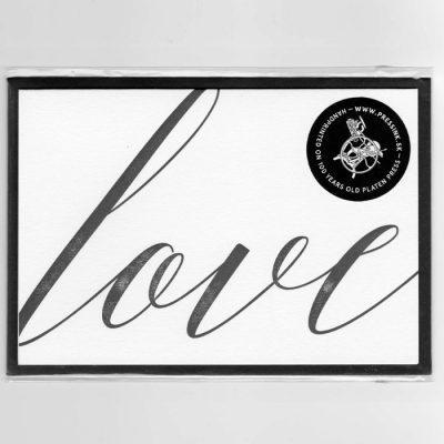 Love - letterpress pohľadnica Pressink
