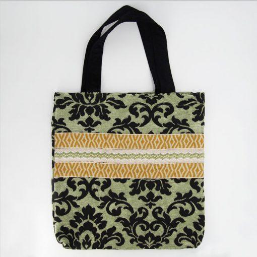 Veľká taška z zelenej vzorovanej látky / Bartinki