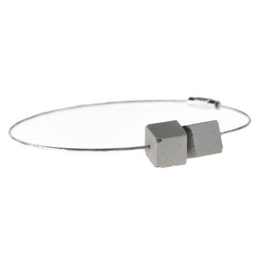 Cubes sivý - BetonBasic / náramok
