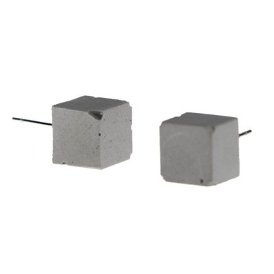 Cubes sivé - BetonBasic / náušnice