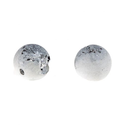 Shine biele strieborné - BetonBasic / náušnice