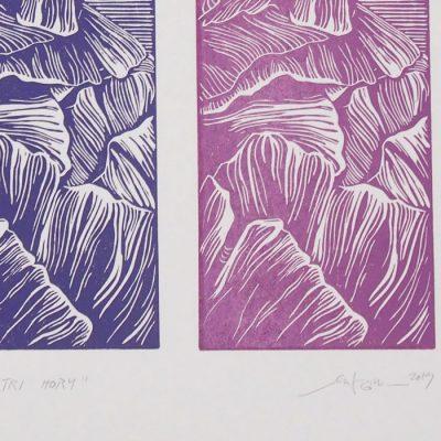 Tri hory - Martina Rötlingová / linorytová grafika