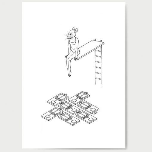 Šedá myš - Mili / grafika A3