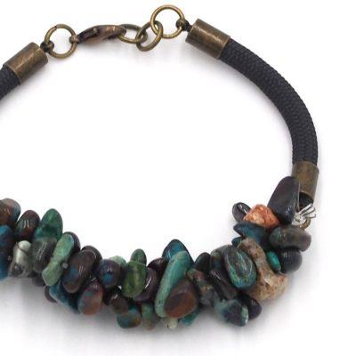 Chryzokol tyrkysový - minerálny kameň+lano / náramok