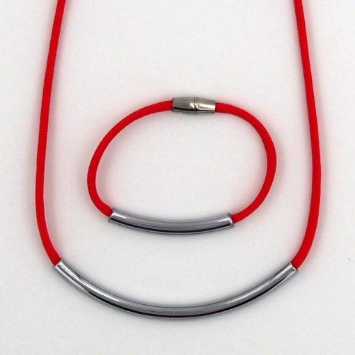 Rope červený / set náhrdelník a náramok