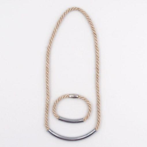 Rope prírodné lano / set náhrdelník a náramok