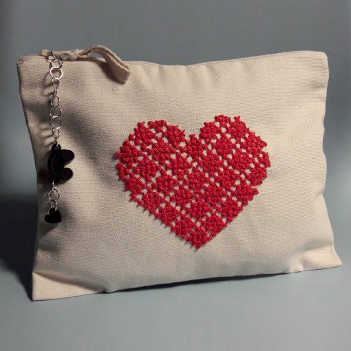 Kozmetická taštička so srdiečkom - Abstraktné stavy / plátená taška