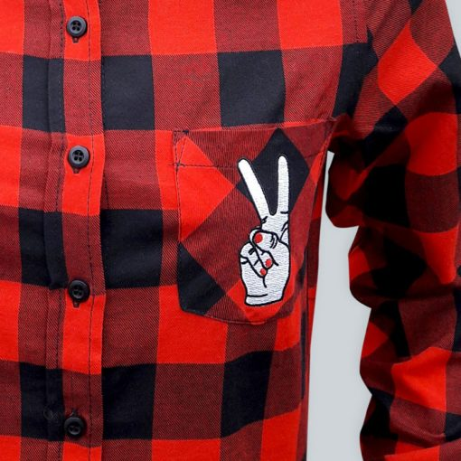 Peace Flanel červeno čierna - Abstraktné stavy / flanelová košeľa