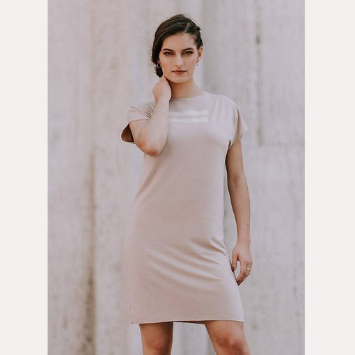 Úpletové šaty béžové s potlačou 2 pásiky