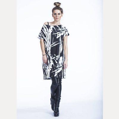 Úpletové šaty čiernobiele bez potlače