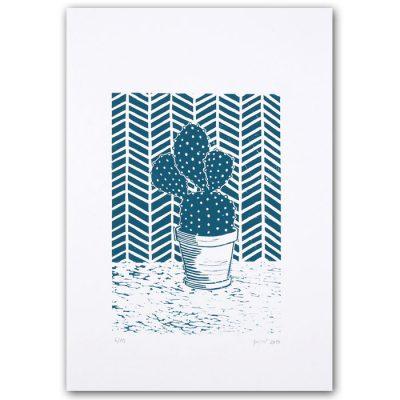 Kaktus / linorytová grafika